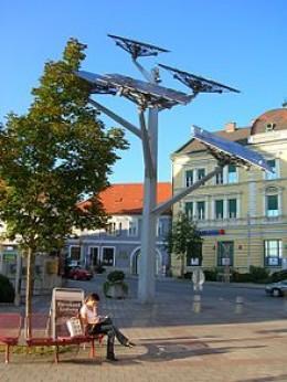 """The """"solar tree"""", a symbol of Gleisdorf, Austria"""
