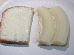 Banana Sandwich on Oroweat Oat Nut bread, slathered with Dukes mayo