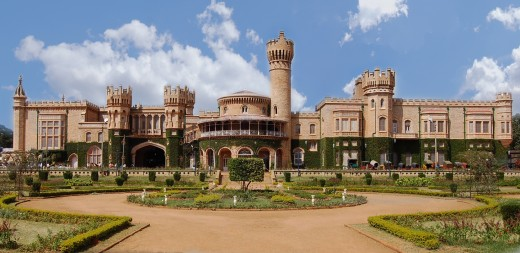 Frontal view of the magnificent Bangalore Palace - originally built by Rev. Garrett in 1862 with a floor area of 45,000 square feet. It is a major tourist attraction in Bangalore.