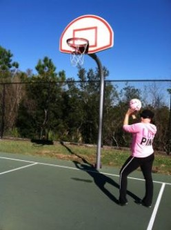 My daughter trying to score...