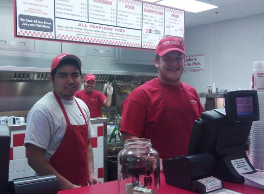 A friendly greeting from the Five Guys staff, The Legends, Kansas City, Kansas