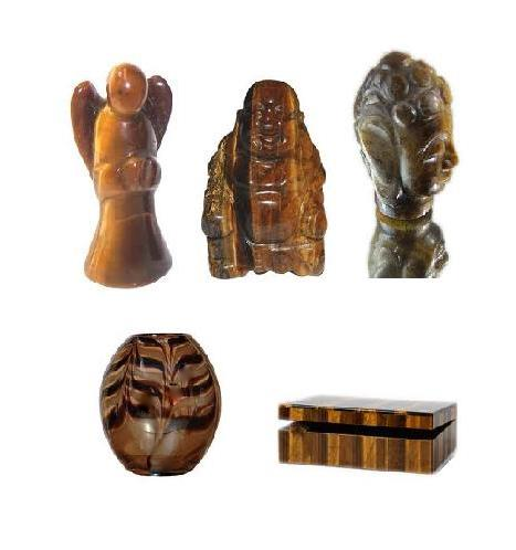 Tiger Eyes Carvings and Sculptures : Angel, Laughing Buddha, Lord Buddha, Flower Vase, Box