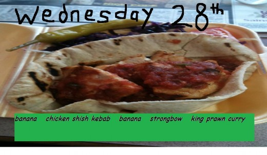 banana, chicken shish kebab, banana, strongbow, king prawn and chicken curry with boiled rice