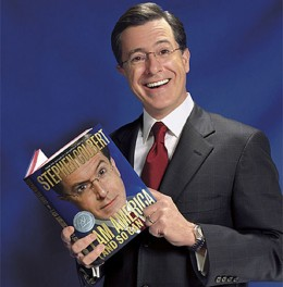 "Stephen Colbert with his book ""I Am America"""