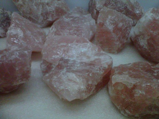 Rose Quartz Crystals on the display shelf