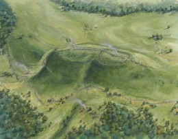 Neolithic activities on the hilltop included the construction of an enclosure and a barrow (drawing by Peter Dunn).
