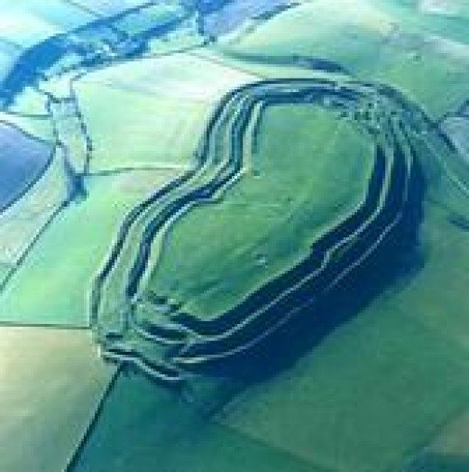 Aerial view of Maiden Castle today