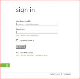 Enter your Windows Live ID and password to access your account.