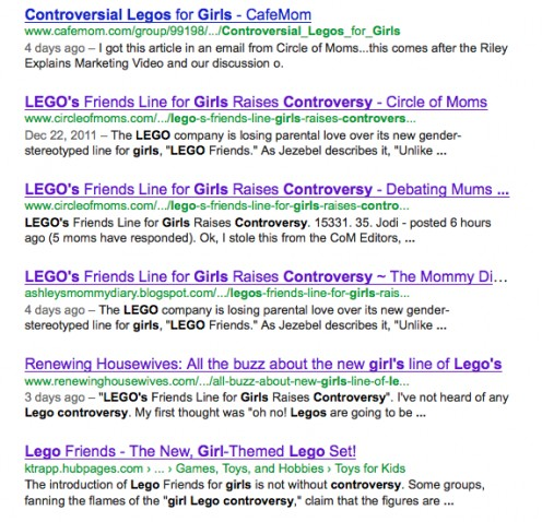 After updating my Lego article, I used Webmaster Tools to get it indexed more quickly by Google. It appears 6th in results.