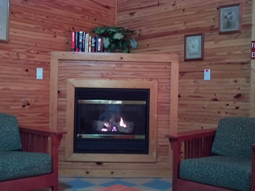 Grab a book off the shelf and relax by the fire