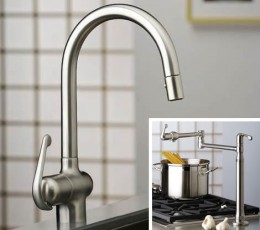 Grohe Kitchen Faucets - two options for pot filling with high arch in chrome