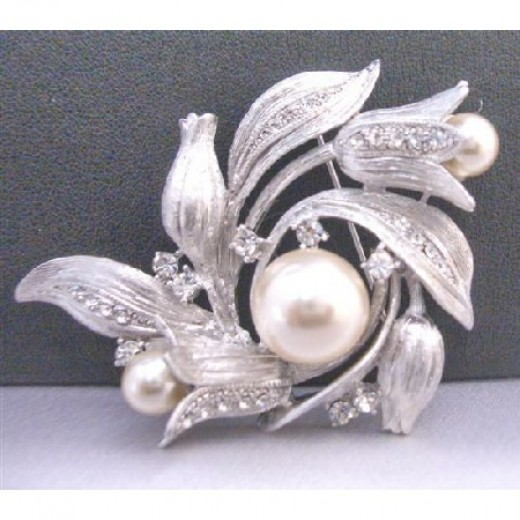 Turlip Brooch Very Sophisticate Made With Silver Metal Exclusive Quality Decorated Sparkling W/ Cubic Zircon Wedding Cake Brooch