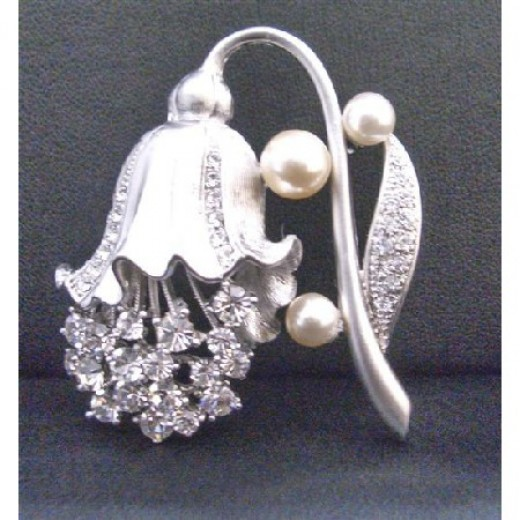 Lamp Flower Shaped Brooch Fully Embedded w/ Diamante Bridal Bridemaids Dress