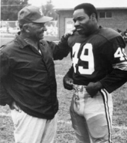 Vince Lombardi with HOF Bobby Mitchell (11 seasons, 148 games, 521 receptions, 7,954 yards, 65 touchdowns)