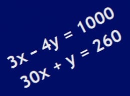 Two linear equations in two variables.