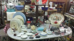 Some of the older dishes can be priced high, but look for bargains spread out on tables and shelves.