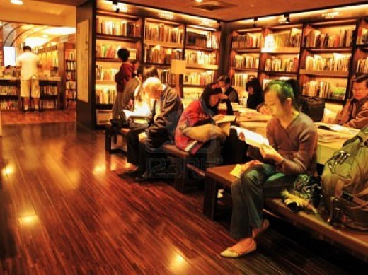 The ambiance of a real bookstore...