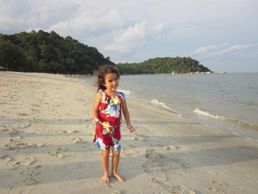 The beautiful sandy beach at Teluk Chempedak