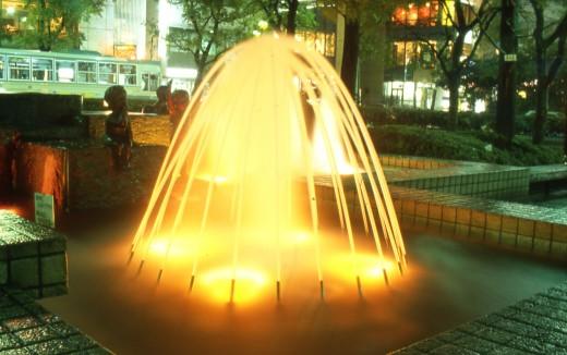 Illuminated fountain - long exposure photography