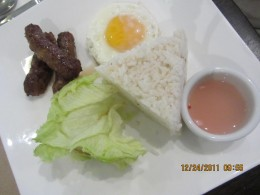 hubby's breakfast of rice, longganisa (Filipino sausage) and egg