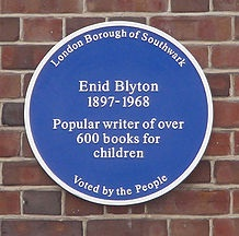Blue plaque on the site of Enid Blyton's home in East Dulwich.
