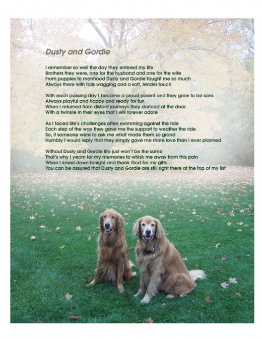 Customized Memorial Poem for Golden Retrievers