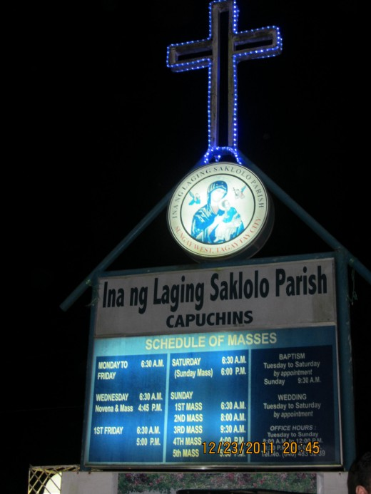 Schedule of masses at the Catholic Church beside T House
