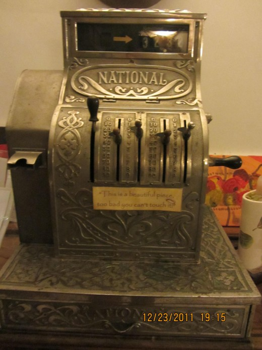 This antique cash register is definitely an eye catcher