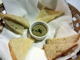 Unlimited serving of bread with eggplant spread - as usual, I loved the focaccia bread