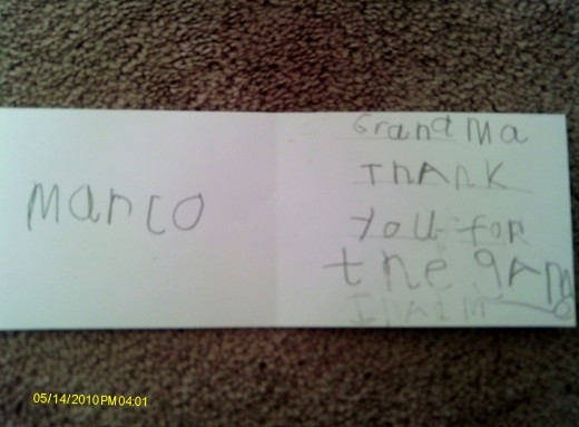 Marco's 'Thank You' note, age 7