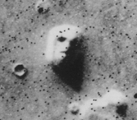 A 1976 image of Cydonia that possibly includes pyramids (e.g., in the bottom right corner)