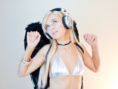 Black and Silver Sexy DJ Angel