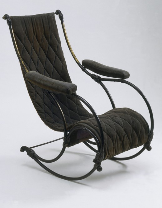 Rocking chair made by W. Winfield that was displayed at the Great Exhibition and now at the V&A Museum. The innovative design seems ahead of its time