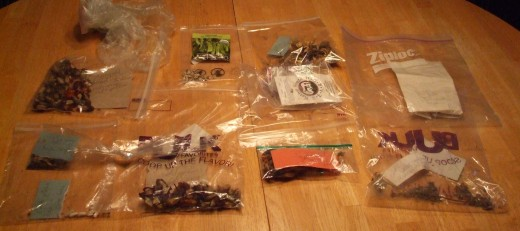 The finished, consolidated and labeled bags of seeds.