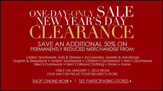 Advertisement for New Year's Clearance Event