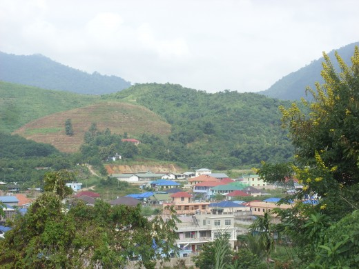 Elevated view of Tachilek, Myanmar