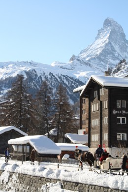 Zermatt, Horse-drawn sleigh ride, Switzerland