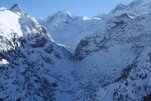 Alpine Panorama while riding the gondola to Glacier Paradise, Matterhorn, Switzerland