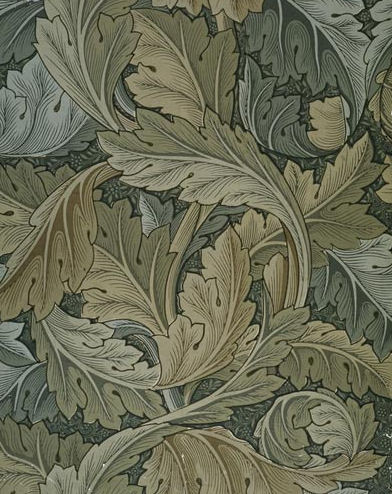 """Acanthus"" wallpaper produced by Morris & Co. in 1875. Much of the Morris & Co. textiles and wallpapers have been reproduced and are still popular"
