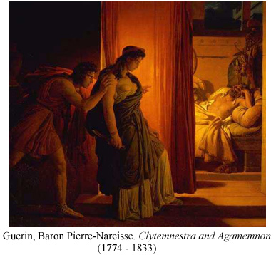 Clytemnestra pauses before killing Agamemnon