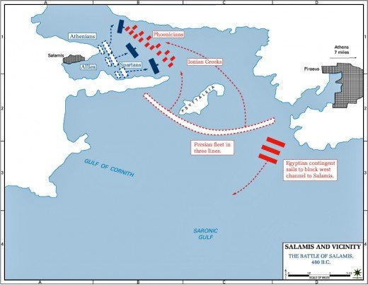Map of the naval battle at Salamis
