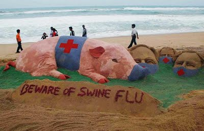 Over two thousand people died because of swine flu in India. Sudarshan Patnaik's sand art showing to be beware of swine flu.