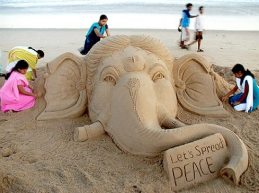 Ganesha sand art to help promote peace.