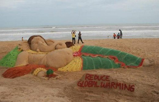Again a sculpture of Lord Ganesha urging people to reduce global warming.