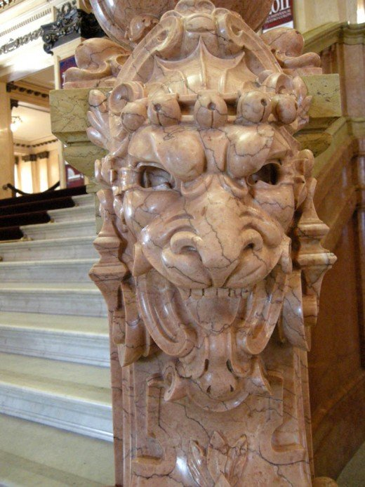 Marble lions adorn the banisters