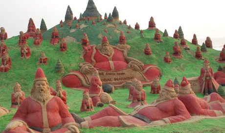 Sudarshan Patnaik built 100 Santa Clause which is a first of its kind anywhere in the world.