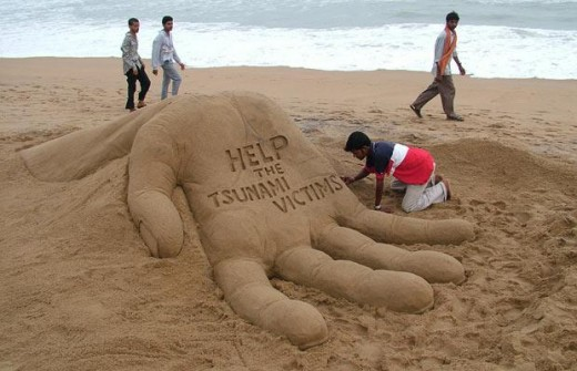 Encouraging people to help Tsunami victims.