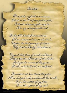 Digital collage with the poem Invictus by William Ernest Henley. 1849-1903 Design of poster by AlocStudios
