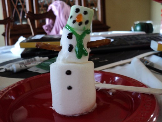 Picture of gel scarf on front of snowman.