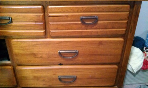 Close view of dresser and handles